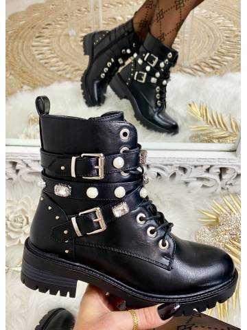 """Mes bottes à lacet black  """"strass & pearls"""""""