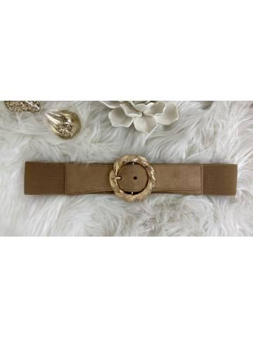 ceinture élastique taupe & gold