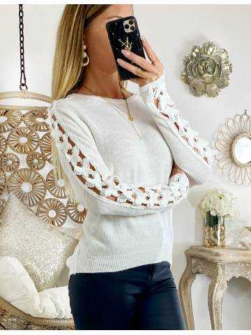 """Mon pull blanc tout doux """"manches Butterfly """""""