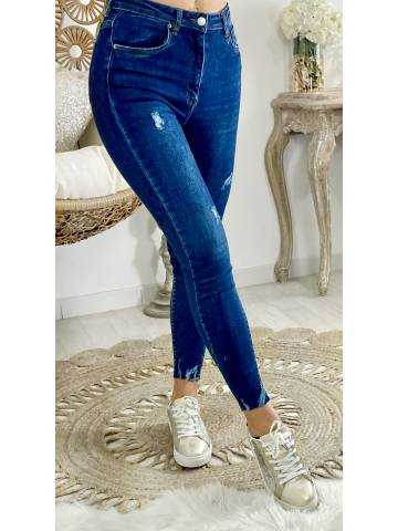 """Mon Jeans bleu foncé taille haute """"used"""""""