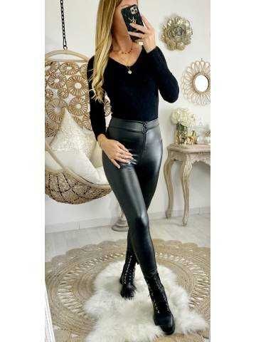 """Mon Leggings black style cuir """"zip et anneau"""""""