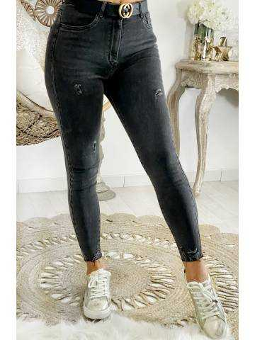 """Mon jeans slim """"gris foncé used"""""""