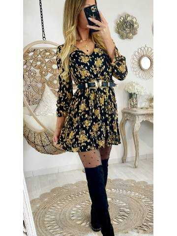 """Ma robe ample noire """"yellow flowers et touch gold"""""""