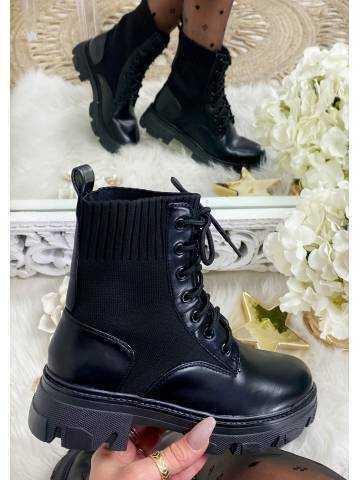 Mes bottines black bi-matière lacet à talon cranté
