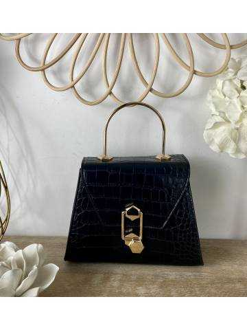 Mon petit sac style cuir black croco anse Gold