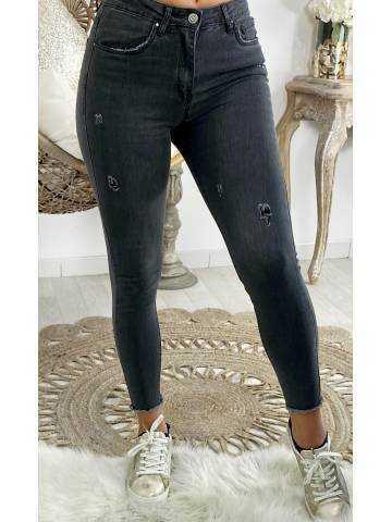"""Mon jeans slim """"gris foncé et usé"""""""