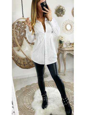 Mon chemisier long blanc taille marquée
