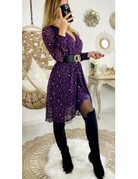 "Ma robe mi-longue cache coeur purple ""touch velvet & gold léo"""