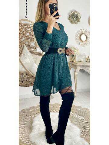 "Ma jolie robe droite vert léo ""effet boutonné"""
