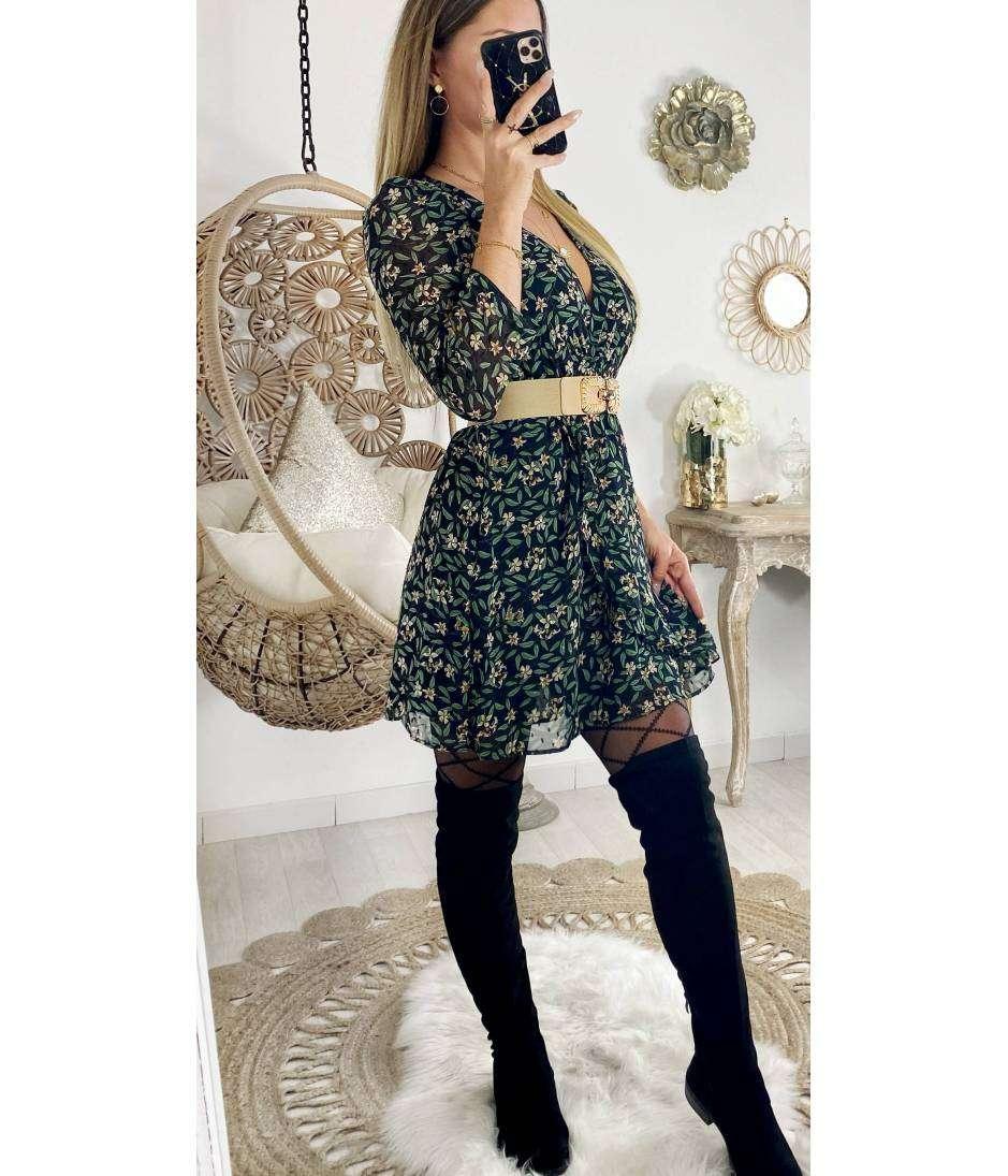"""Ma robe cache coeur noire """"petites fleurs et feuilles"""""""