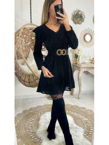 """Ma robe noire texturée """"buste volants"""""""