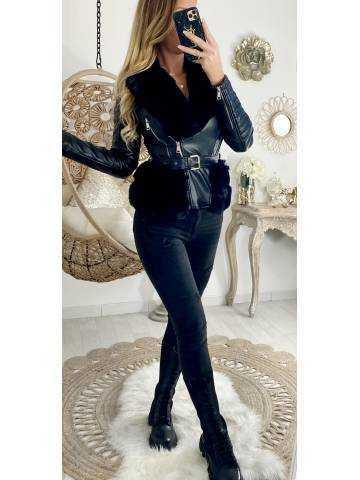 """Mon superbe blouson black """"style cuir et fourrure """""""