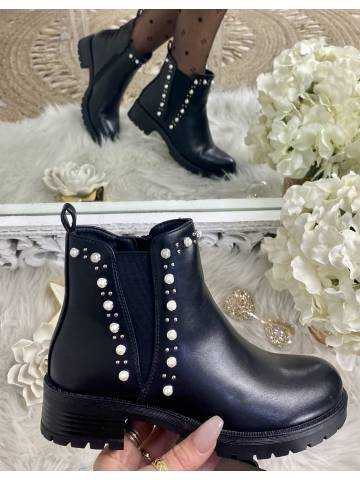 Mes bottines Chelsea black & pearls 2