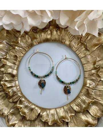 """Mes boucles d'oreilles créoles """"gold & green"""""""