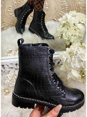 Mes jolies bottines noires lacet et croco