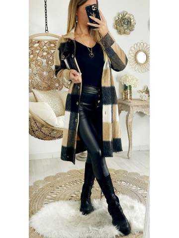 Ma veste lainage mi-longue loose à carreaux camel & beige