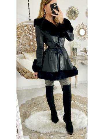 Manteau mi-long black cuir & style fourrure