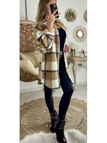 Veste lainage mi-longue loose à carreaux caramel & beige