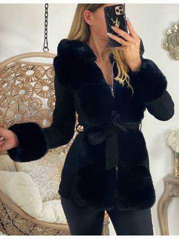 """Mon manteau noir """"suede & fur"""""""