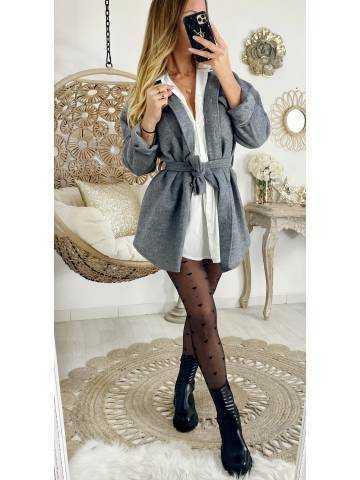Ma jolie veste grey loose boutonnée et ceinturée