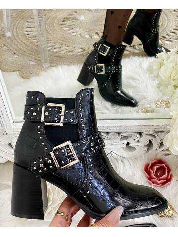 Mes bottines black style croco à talon boucles Silver