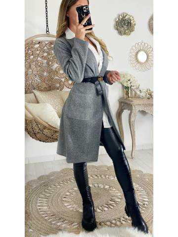 """Manteau mi-long """"grey et sa ceinture"""""""