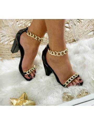 Mes sandales à talon black & chain