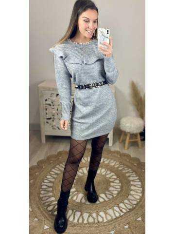 Ma jolie robe en maille grey col volant