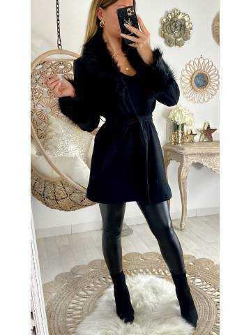 """Manteau mi-long """"noir et col fourrure"""""""