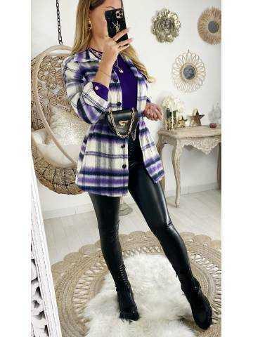 Veste loose en lainage à carreaux purple
