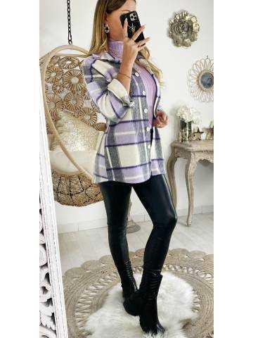 Veste loose en lainage à carreaux lila & grey