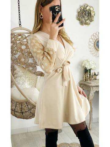 "Ma robe beige cache coeur ""manches bi-matières"""