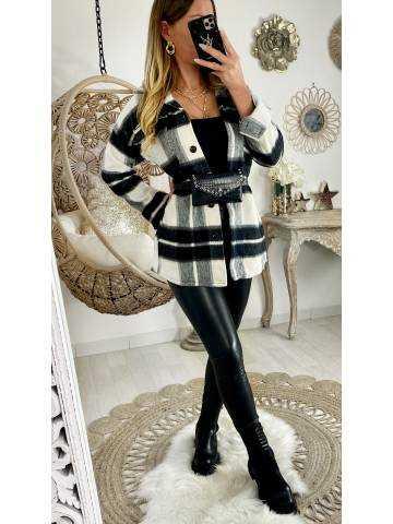 Ma chemise/ Surchemise loose & carreaux black/grey