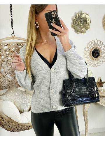 """Mon gilet grey loose """"boutons strass"""""""