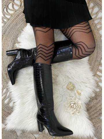 """Mes bottes à talon  black """"style cuir & python"""""""