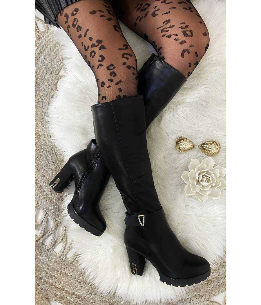 "Mes bottes black ""style cuir"" et boucle strass"