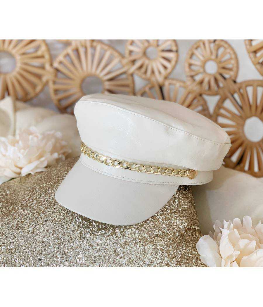 casquette blanche style cuir & chain