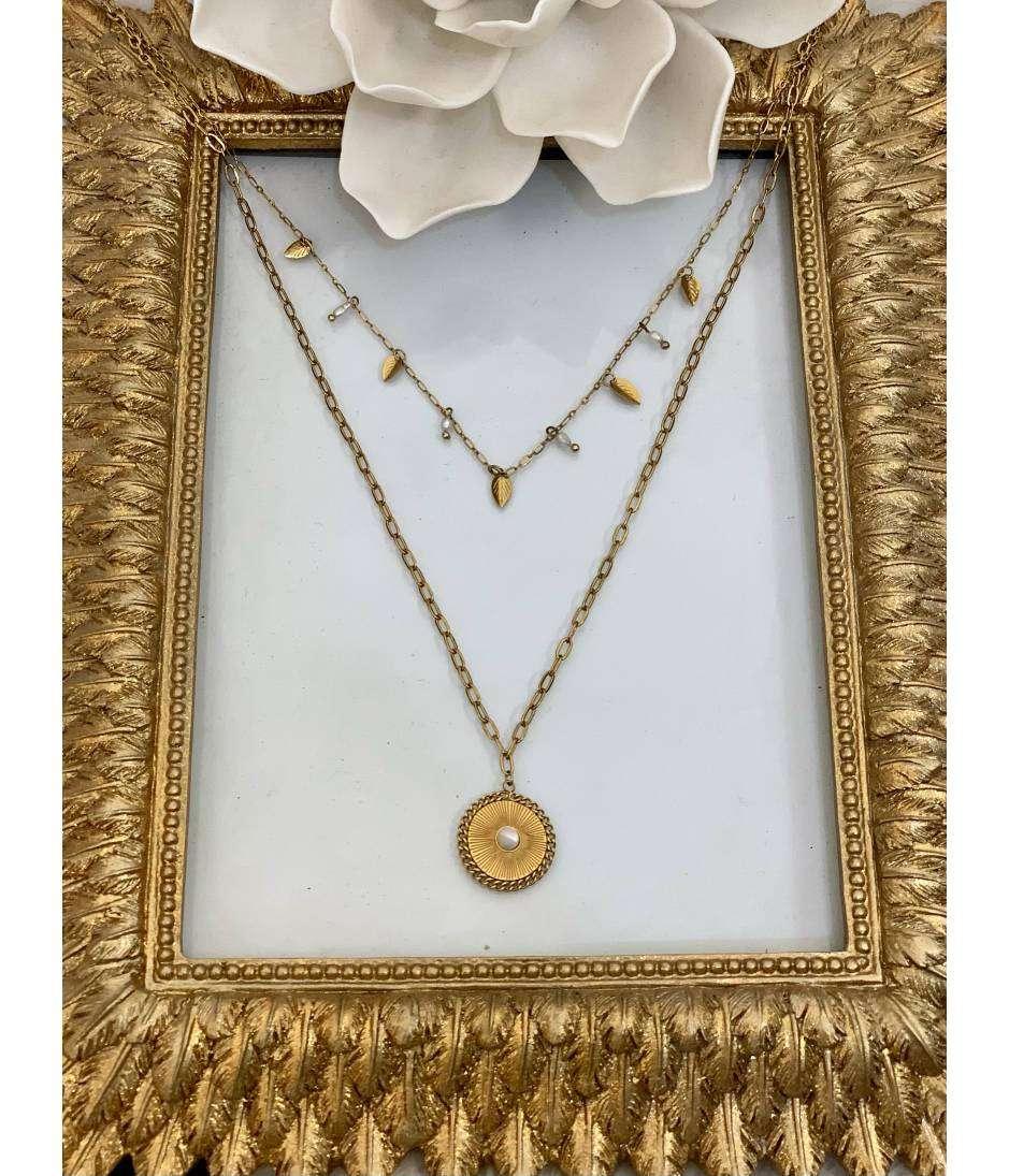 Mon sautoir gold multi chaines et perles blanches