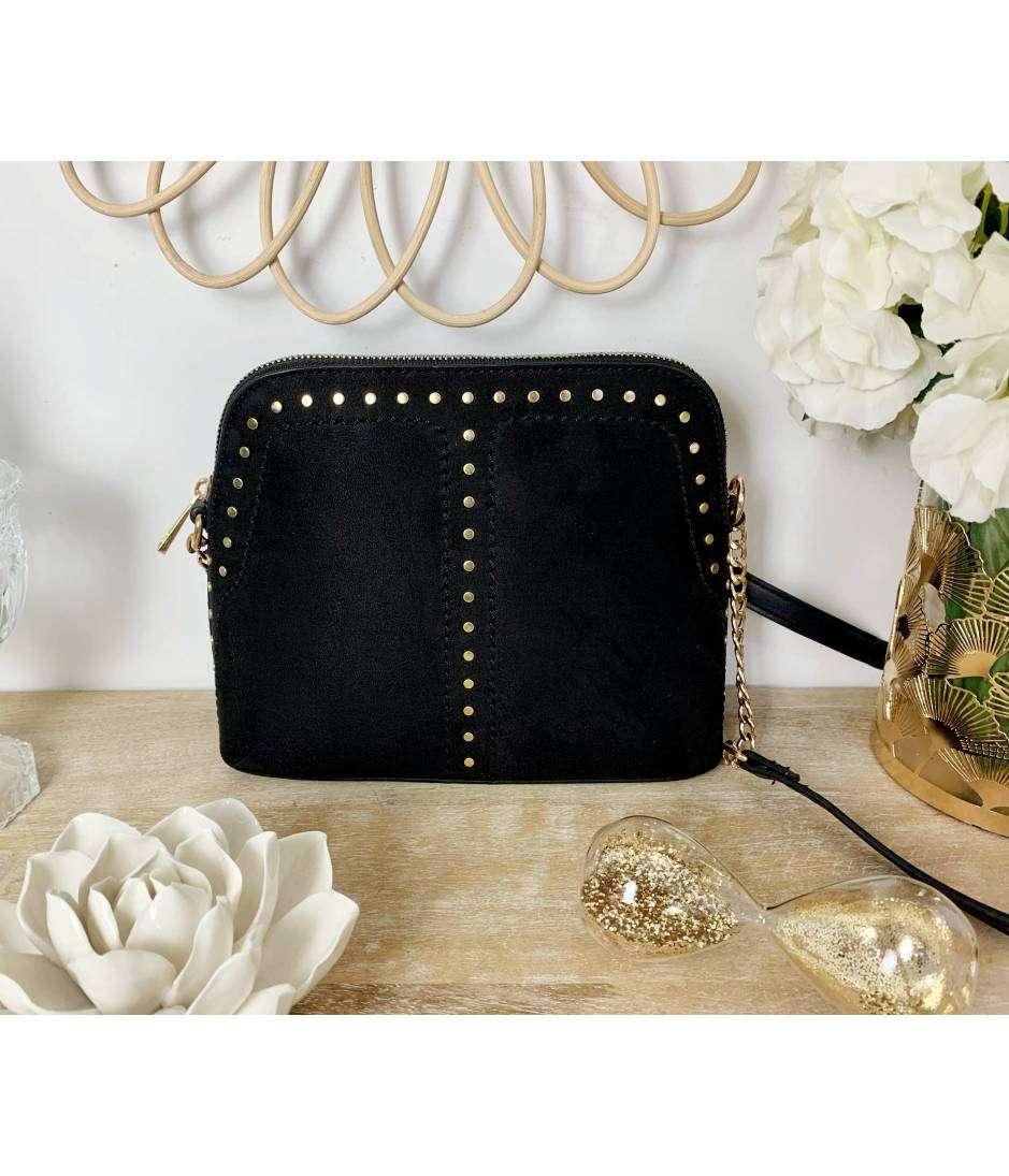 Petit sac style daim black & nails gold