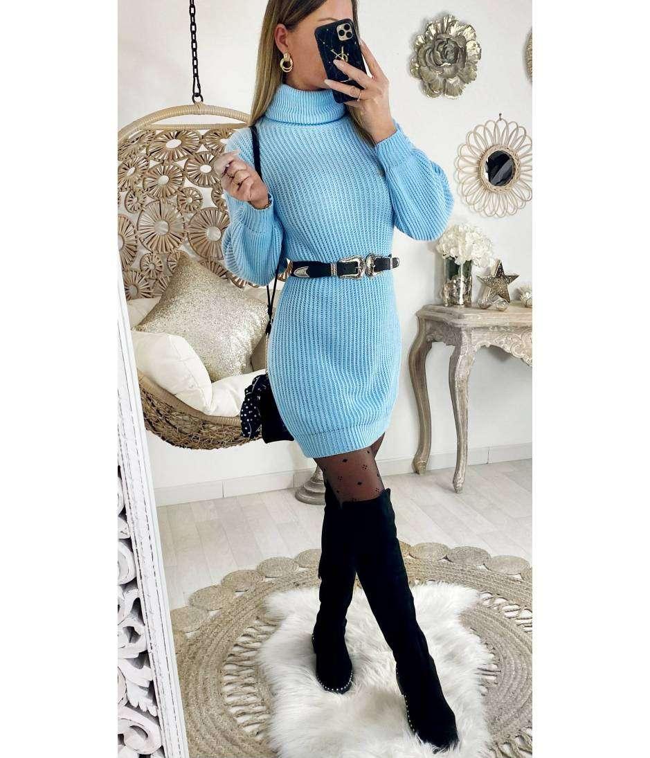 Ma robe en maille col roulé bleu ciel