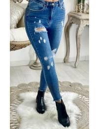 Mon Jeans taille haute medium blue & destroy