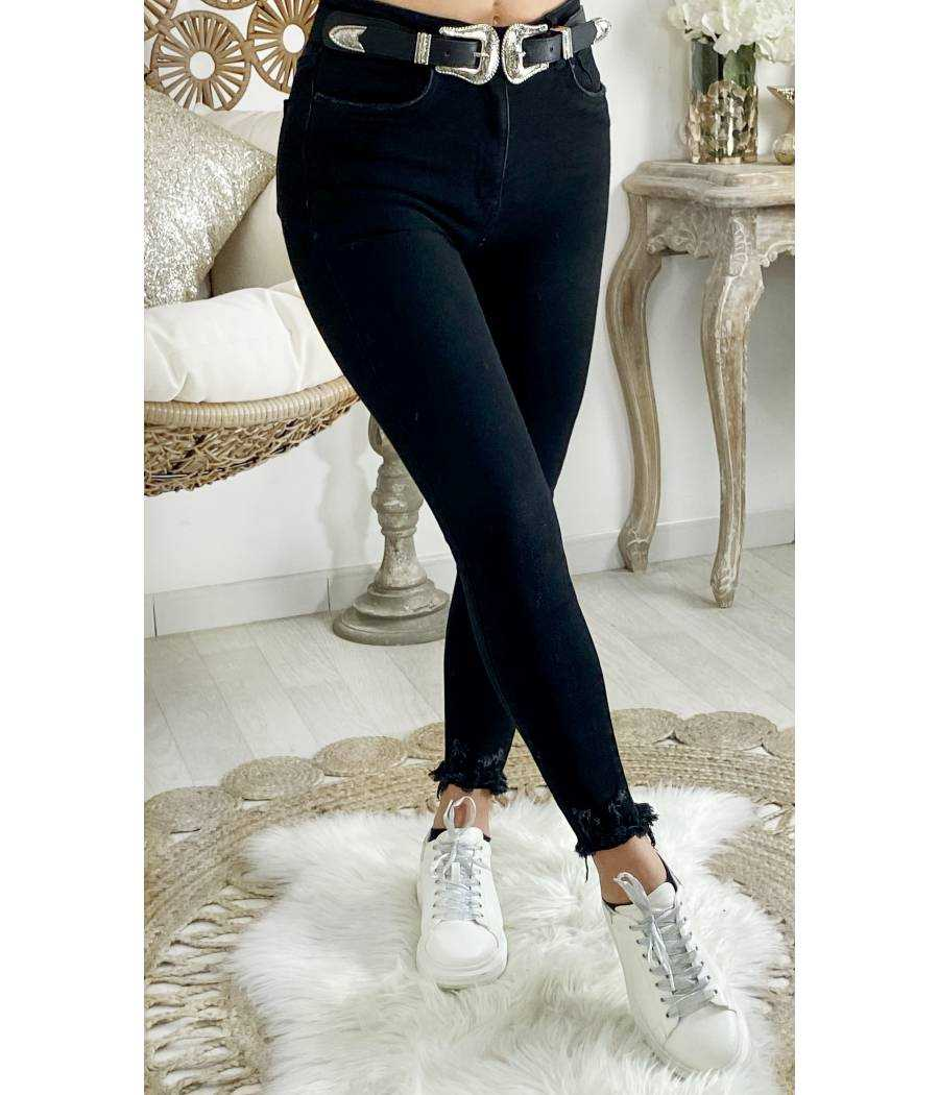 "Mon Jeans black taille haute ""bas used"""