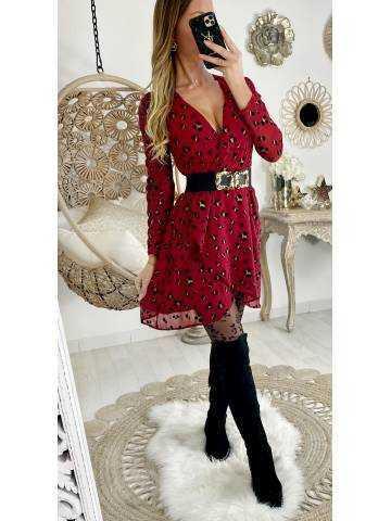 "Ma robe  portefeuille ""Burgundy color & velvet print"""