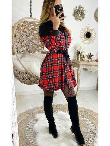 Ma jolie robe/chemise à carreaux Black & Red style cuir