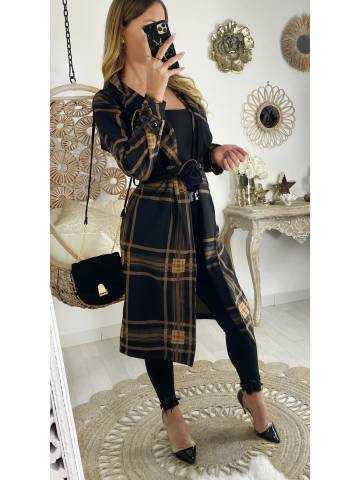 Ma veste en lainage mi-longue loose à carreaux camel & black