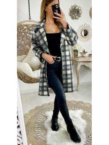 Mon joli manteau loose & carreaux grey