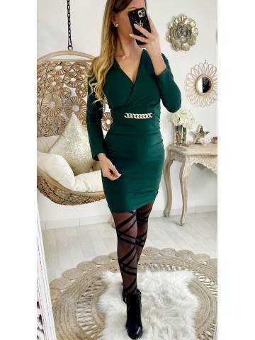 "Ma robe vert émeraude ""froncée et chaîne"""