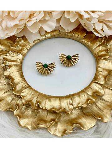 """Boucles d'oreille demi lune """"Gold and Green marble """""""