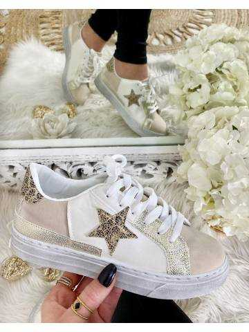 Mes jolies baskets white and Gold Star