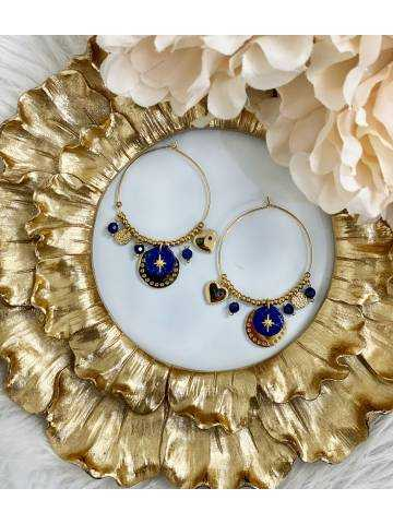 """Mes jolies créoles Gold  """"so Blue and Charms """""""